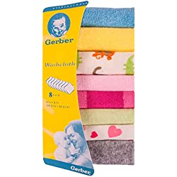 Gerber Hosiery 8pcs Newborn Baby Soft Cotton Face Towels Handkerchiefs Bandana Drool Bibs Washcloth Feeding Wipe Cloth-Best Gifting Idea (Multicolor)
