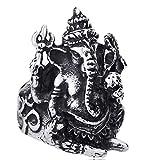XNCBM Joyería del Acero Inoxidable 316L para Hombre Anillos de época gótica Tribal Punky del Motorista Grande hindú Dios del Elefante Anillo de Plata Negro