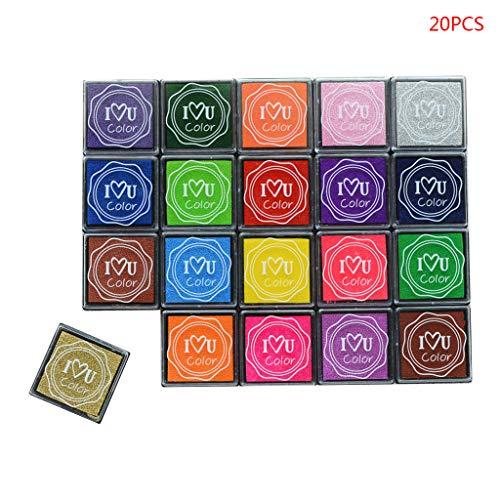 Neue Student Schreibwaren Seal Set Kinder Finger Malerei Stempelkissen Schlamm DIY Quadrat Farbe 20 Farbe Stempel Set -
