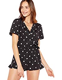 71cc8ff887bb Debenhams The Collection Womens Black Polka Dot Wrap Teddy Playsuit