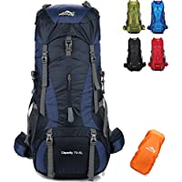 onyorhan 70L+5L Mochila Viaje Trekking Excursionismo Senderismo Alpinismo Escalada Camping Hombre Mujer (Azul Marino)