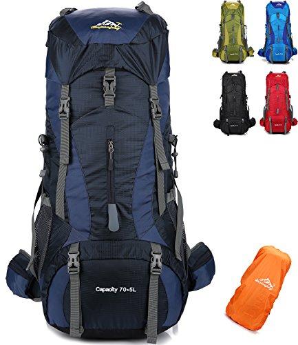 onyorhan 70L+5L Zaino Viaggio Trekking Escursionismo Campeggio Arrampicata Alpinismo Impermeabile per UomoDonna (Blu Navy)