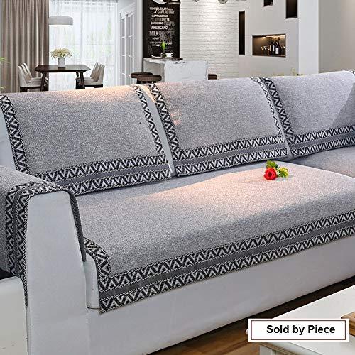 Z-one Sofa Abdeckung Retro Dekoration Sofa Überwurf Baumwolle Anti-rutsch Schmutzabweisend Kissen beschützer Für L förmige- Couch Schnitt-grau 90x210cm(35x83inch) (Sofa Grau Schnitt)