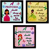 INDIANARA 3 PIECE SET OF FRAMED WALL HANGING GIRL KIDS ROOM DECOR ART PRINTS 8.7 INCH X 8.7 INCH WITHOUT GLASS