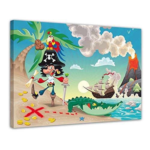 Kunstdruck - Kinderbild Pirat auf Insel Cartoon - Bild auf Leinwand - 70x50 cm 1 teilig - Leinwandbilder - Bilder als Leinwanddruck - Wandbild von Bilderdepot24 - Kinder - Abenteuer - Schatzinsel - Schatzsuche