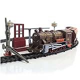 Elektrische Eisenbahn Lok mit Licht- und Soundeffekte, Lokomotive Zug, lange Eisenbahnstrecke, Wagons und viel Zubehör