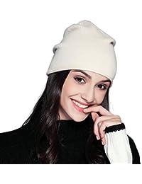 FLY HAWK Gorro de Lana Beanie Casquillos Calientes Bufanda Las Mujeres del  Invierno - Boinas Sombrero Mujer Fietro Francesa Lana… 332337b9751c