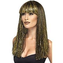 Smiffy's - Peluca larga egipcia, color negro y dorado (44254)