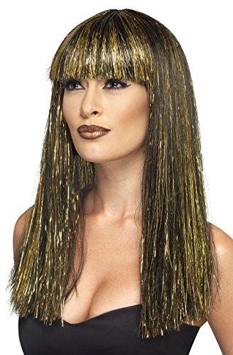 SMIFFYS Smiffy's - 44254 Parrucca Dea Egizia con Pagliuzze, Nero/Oro, Taglia Unica, 44254