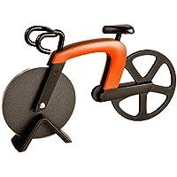 ECENCE Couteau à Pizza en Forme de vélo découpe Pizza Acier Inoxydable avec revêtement antiadhésif et Support Orange 41010101
