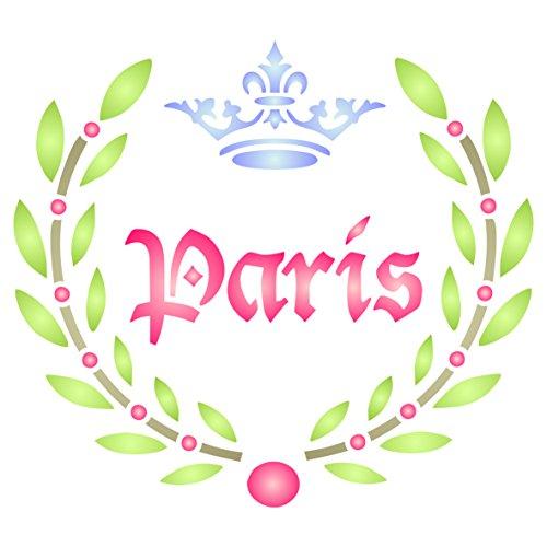 Paris Laurel Schablone-wiederverwendbar Französischer Vintage Motto Wort Wand Schablone-Vorlage, auf Papier Projekte Scrapbook Tagebuch Wände Böden Stoff Möbel Glas Holz etc, L -