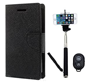 Aart Fancy Diary Card Wallet Flip Case Back Cover For Samsung J1 -(Black) + Remote Aux Wired Fashionable Selfie Stick Compatible for all Mobiles Phones By Aart Store