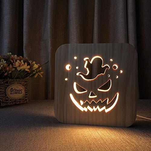 MJBOY 3D Lampe USB LED Nachtlicht Massivholzschnitzerei Hohl Kreative Tischlampe Schönes Geschenk Home Office Dekoration Spielzeug (Halloween Kürbisform)
