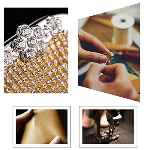 Pochette da Donna Aosbos Elegante per Feste Matrimoni Borsa mano con Cristalli per Cerimonie e Balli Argento