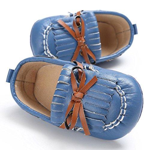 Hunpta Babyschuhe jungen Mädchen Neugeborenen Leder Krippe weiche Sohle Schuhe Sneakers (Alter: 6 ~ 12 Monate, Weiß) Navy