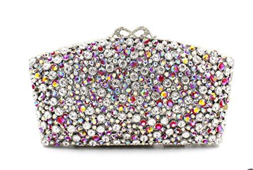 Damen Abendtasche Kristall-Diamant-Diamant-Mappe Brauttasche Handtasche Bankett fan color 3