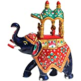 Handicrafts Paradise Metal Enamelled Royal Elephant with Howdah