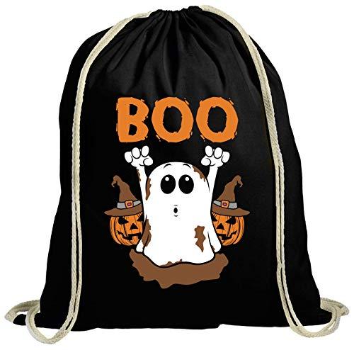 Partner Gruppen Ghost natur Turnbeutel Rucksack Gymsac Halloween Boo, Größe: onesize,schwarz
