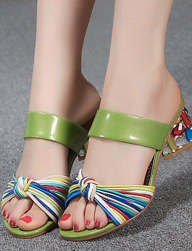 LFNLYX Scarpe Donna-Sandali-Formale / Casual / Serata e festa-Tacchi-Quadrato-Di pelle-Verde / Bianco Green