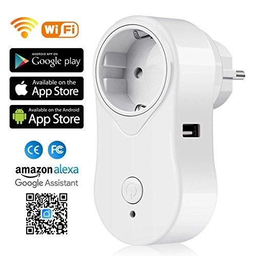 Alexa Steckdose mit USB Port, SIMBR Smart WLAN Steckdose, fernbedienbar, spracherkennbar von Alexa, Echo, Echo Dot, Google Home, APP-Steuerung (Smart Life) von überall zu jeder Zeit