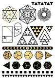 TATATAT das Streetart Label aus Berlin Temporäre Tattoos #006 Geometry by D.Bizer Tätowierungsaufkleber Tattoo Tat Damen Herren Körperkunst Aufkleber (Gold)