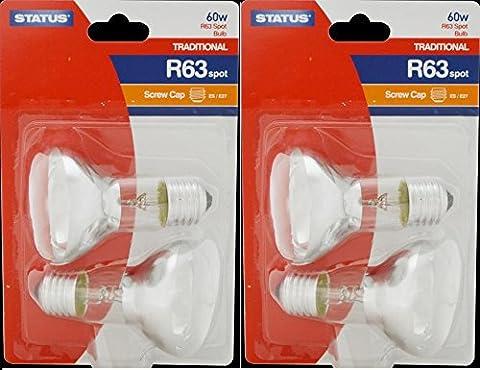 STATUS 4 x 60 W, R63 ES E27 Reflektor Glühbirne Spot, Schraubfassung, dimmbar, weißes Spotlight Lampe