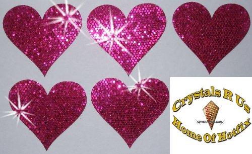 1Pack = 5Stoff Pailletten 40mm Herzen zum Aufbügeln Hot Pink