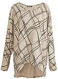 Emma & Giovanni - Langarmshirt Mit Druck- Pullover- Asymmetrisch Top - Damen ,XL,Hellbeige