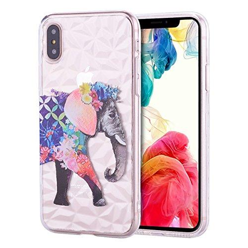 Everainy iPhone XS/iphoneX Silikon Hülle Durchsichtig Diamant Muster 3D Ultradünn Handyhülle Stoßstange für iPhone XS/X Gummi Hüllen Stoßfest Transparent (Elefant) -