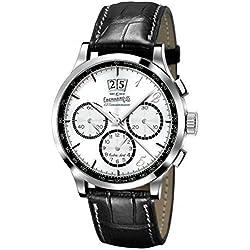 Men Eberhard 31125CPD Automatic Steel Watch quandrante Silver Leather Strap