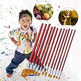 leiyini Rote Stange Ölbürste 1-12 Set Nylon Haar Kinder Gouache Aquarell Malerei Linie Stift Pinsel Schleifbürste