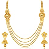 #9: Sukkhi Stylish Jalebi 4 String Gold Plated Necklace Set For Women