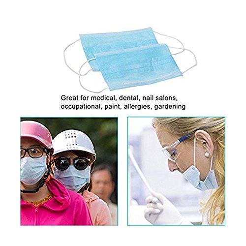 Wuudi 50Pezzi Tre Strati USA e Getta Respiratore Maschera Traspirante in Tessuto Non Tessuto Antipolvere Maschera