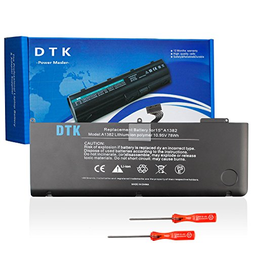 "Dtk® Ultra Hochleistung Notebook Laptop Batterie Li-ion Akku für Apple A1382 A1286 (only for Core i7 Early 2011 Late 2011 Mid 2012) Unibody Macbook Pro 15"" i7, also fit 661-5476 661-5211 with Two Free Screwdrivers [10.95V 6800MAh 74Wh]"