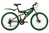 KS Cycling Fahrrad Mountainbike Fully 26 Zoll Bliss RH 47 cm, Schwarz-Grün, 26, 534M