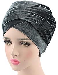 a5095e329268 iBaste Femme Bonnet Chapeau Velours Turban Plissé Tête Enroulez Foulard  Musulmane Hijab Couvre-chef Fichus Écharpe Pashmina Châle…