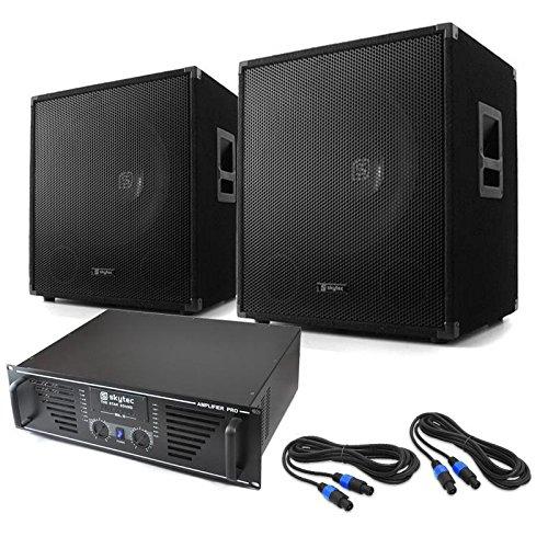 Elektronik-Star DJ PA Set Lewis 1600 Bass Hurricane 45cm 1600W