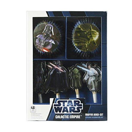 Decocino Muffinset Star Wars Galactic Empire 48 tlg. HOCHWERTIGE Tortendeko von DEKOBACK | Disney Star Wars Back- und Tortendeko | 1er Pack ( 48 tlg.) | 24 Muffinförmchen und 24 Muffinsticker | Star Wars Backzubehör kaufen