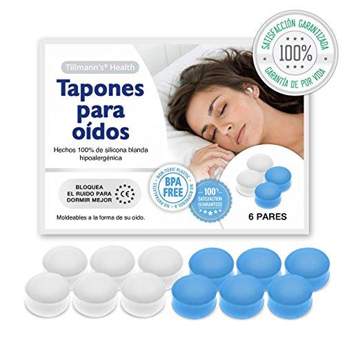 Tillmann's® Tapones Oidos Dormir 6 Pares - Tapones Oidos Silicona Moldeables Para Aislar Ruido - BPA Free Apto Para Toda La Familia En Blanco Y Azul