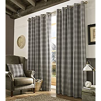 This Item Homescapes Grey And Cream Tartan Check Plaid Ready Made Eyelet  Curtain Pair Width 66 X 90 Inch Drop   Fully Lined Curtains For Living, ...