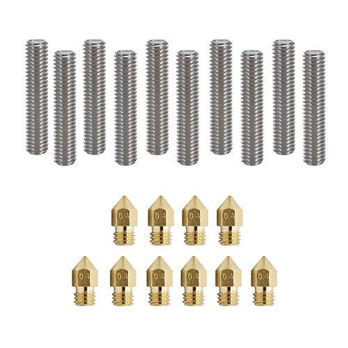 Zomiee - 10 estrusori per stampante 3d, 30mm di lunghezza, tubo da 1,75mm + 10 ugelli estrusori in ottone da 0,4mm, testine di stampa per stampanti 3d mk8makerbot reprap