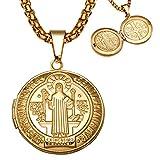 BOBIJOO Jewelry - Colgante de San Benito de la Puerta-Mensaje Fotográfico de Protección Católica de Acero de Oro + Cadena
