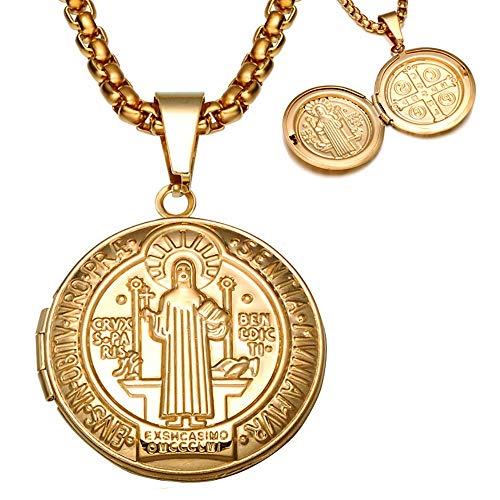 BOBIJOO Jewelry - Anhänger, St. Benedikt-Tor-Foto-Nachricht-Schutz-Katholische Stahl-Gold + Kette -
