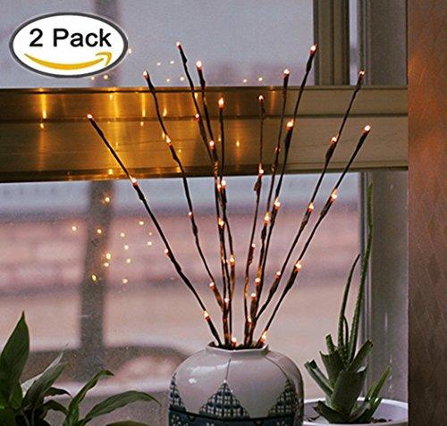 YQ-Best Lichter-Zweige, 20batteriebetriebene LED-Dekolichter, Weidenzweig, Lichter für Zuhause, Weihnachten, Dekoration, 76,2 cm, Warmweiß, 2er Pack