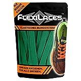 FLEXILACES - Flache elastische Schnürsenkel | Spannung einstellbar | viele Farben | nie Wieder Schuhbänder binden | passend für alle Schuhe - Gras-Grün