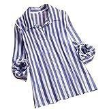 VEMOW Herbst Frühling Sommer Elegante Damen Frauen Stehkragen Langarm Casual Täglichen Party Strand Urlaub Lose Tunika Tops T-Shirt Bluse(X4-Blau, EU-38/CN-S)