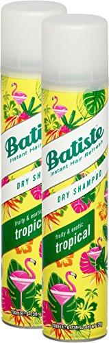 Shampoo a secco Batiste Dry Shampoo Coconut & Exotic Tropical, fresca capelli per tutti i tipi di capelli, confezione da (2X 200ML)