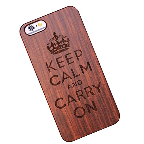 Forepin® Naturholz Hülle für iPhone 5 / 5G / 5S / SE,Ultra Dünne Echt Sandelholz und PC Hart Schale im Gravur Schnitzen Muster Elegantes Design Bumper Case Cover - Kompass Carving Muster Krone