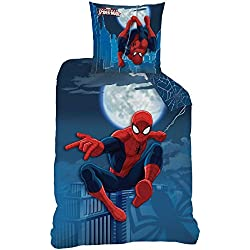 Funda de edredón (140x 200 cm) + funda de almohada (63x 63 cm)con diseño de Spiderman–Juego de cama Moonlight