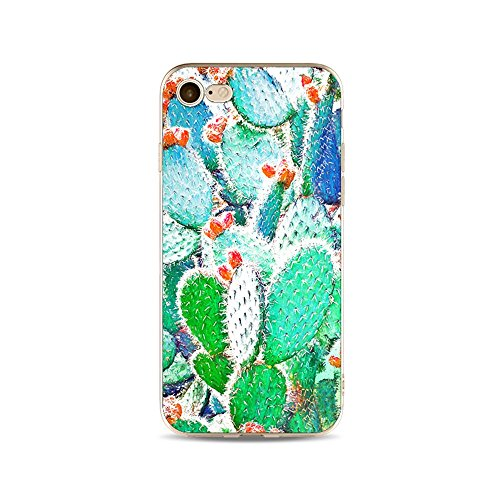 "CoqueiPhone 7 Etui Housse,BoomTeck Coque Pour 4.7"" Apple iPhone 7 Silicone Souple Transparente Motif Clear Ultra Mince Anti Choc Anti-rayures Gel TPU Etui Protection Bumper Case - Été Tropical Succul 16"